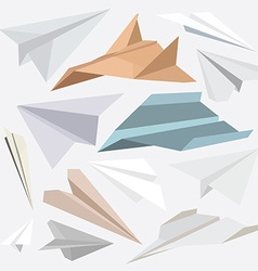 Origami paper plane collection for websites-flat vector