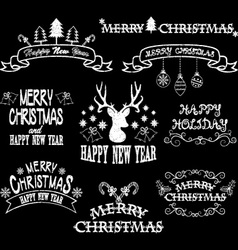 Chalkboard merry christmas borderfont elements vector