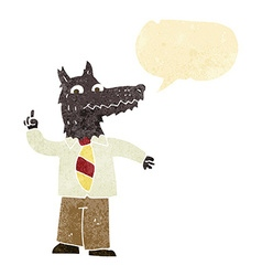 Cartoon business wolf with idea with speech bubble vector