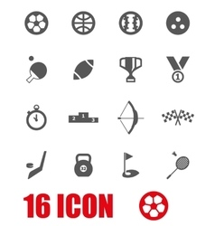 Grey sport icon set vector