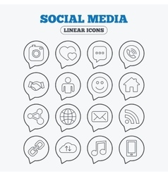 Social media icons speech bubble lovers vector