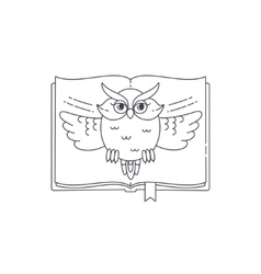 Wise owl opens the book linear vector image