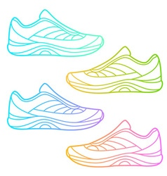 Linear sneakers on white background vector