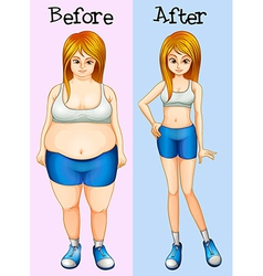 A transformation from a fat into a slim lady vector image vector image