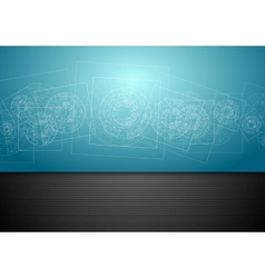 Abstract blue tech engineering background vector