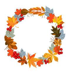 autumn leaves wreath vector image