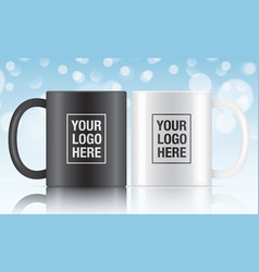 black and white coffee mugs vector image vector image