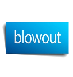 Blowout blue square isolated paper sign on white vector
