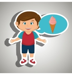 Boy cartoon ice cream vector