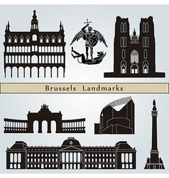 Brussels landmarks and monuments vector