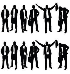 Businessman silhouette set on white background vector