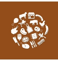 Butcher icons in circle vector