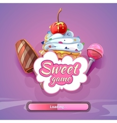 Candy world game background with title name vector