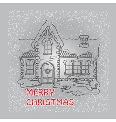 Christmas house with snowflakes on grey vector