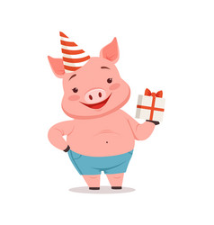 cute pig in party hat holding gift box funny vector image vector image