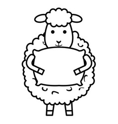 Cute sheep with pillow character icon vector