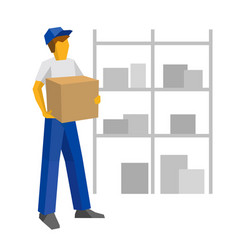 Delivery man in blue uniform holding carton box vector