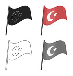Flag of turkey icon in cartoon style isolated on vector