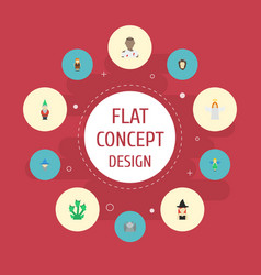 Flat icons flying gnome magic and other vector