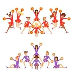 High-school profession cheerleading teams of girls vector