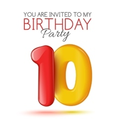 Invitation card for the celebration of 10 years vector image