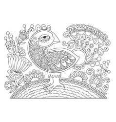 line drawing page of coloring book bird and flower vector image vector image