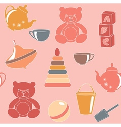 Pink seamless pattern with toys vector image