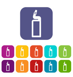 Plastic bottle of drain cleaner icons set vector