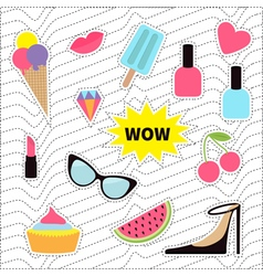 Quirky sticker patch badge set fashion pin vector