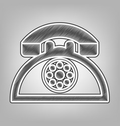 retro telephone sign pencil sketch vector image vector image