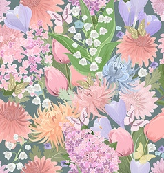seamless texture with different flowers and vector image vector image