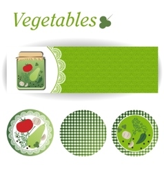Set of rectangular and round stickers for canned vector