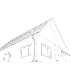 Sketch of the cottage with a roof vector