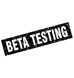 square grunge black beta testing stamp vector image