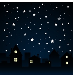 Stars sky night silhouette of the city moon vector