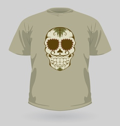 T-shirt with tribal sugar skull vector image