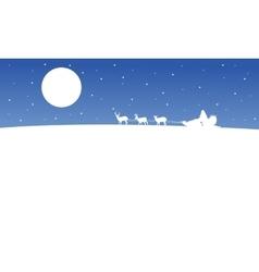 Train santa on the hill scenery silhouettes vector