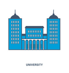 University building flat vector