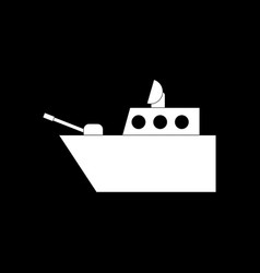 White icon on black background military warship vector