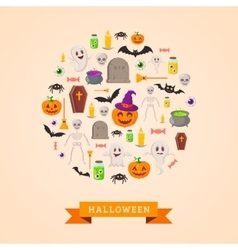 Witchy symbols round pattern vector image