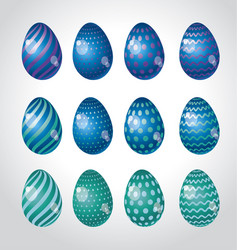 Rainbow vivid color easter egg set bright simple vector