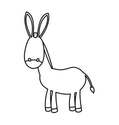 Outlined donkey manger animal nativity vector