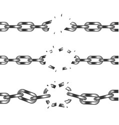 Broken chain isolated on white vector
