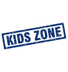 Square grunge blue kids zone stamp vector
