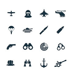 Set of army icons vector