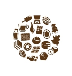 Chocolate icons in circle vector