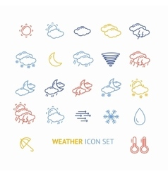 Colorful outline weather icon vector