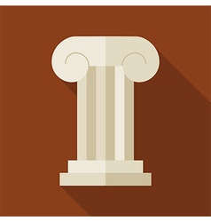 Flat History Ancient Ionic Pillar with long Shadow vector image