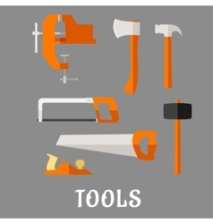 Carpenter and diy tool flat icons vector