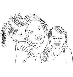 Mom and kids - line art vector